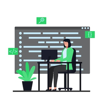 Women sit at desks and work on application programs. flat programming illustration.