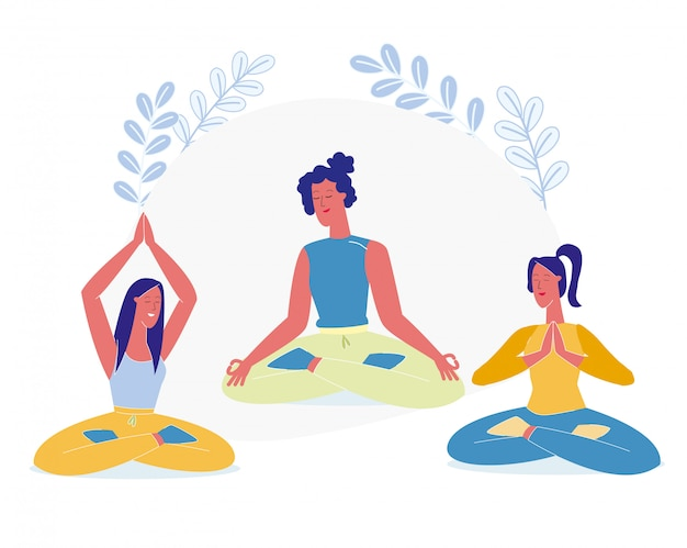 Women sit in lotus pose flat vector illustration