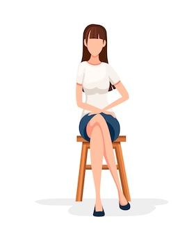 Женщины сидят на деревянном стуле. без лица персонажа. девушка сидит со скрещенными ногами в формальной одежде. иллюстрация на белом фоне