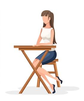 Женщины сидят на деревянном стуле. без лица персонажа. девушка сидит со скрещенными ногами в формальной одежде, деревянный стол. иллюстрация на белом фоне