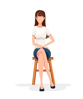Women sit on wooden chair. no face character . girl sit with crossed legs in formal wear.   illustration  on white background