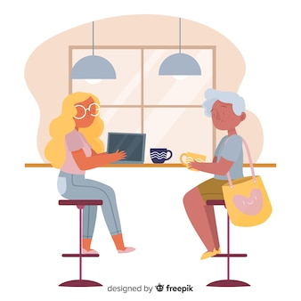 Women sitting at the cafe