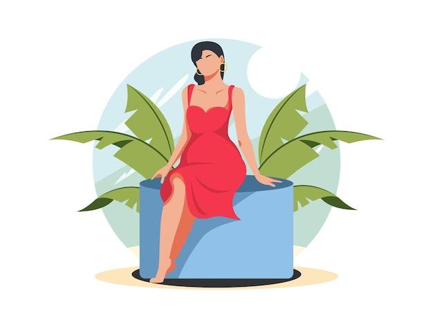 Женщины, сидящие в платьях