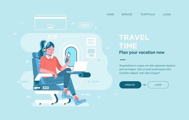 飛行機の座席に座って、イヤホンをつけて本を読む女性。飛行機のイラストと一緒に旅行する女性。バナー、ウェブサイト画像などに使用