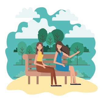 Women sitting in park chair with landscape avatar character