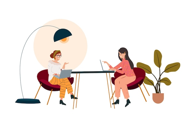 Women sitting and talking at street cafe vector flat illustration people using laptops computers buying ordering clothes furniture in internet store e shopping concept relax at outdoors cafeteria