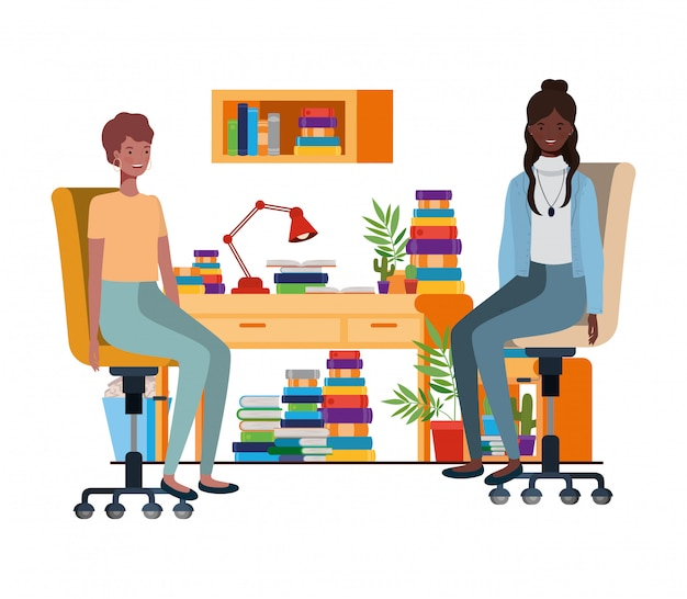 Women sitting in the work office with white