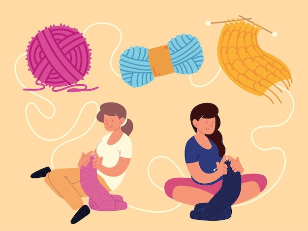 Women sitting woven with wool