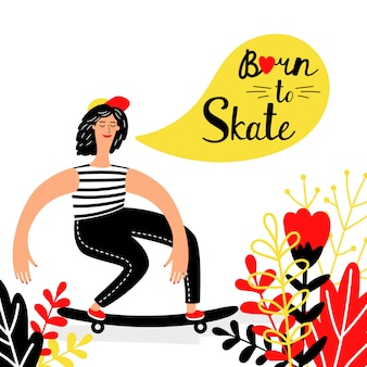 Women skateboarding with flowers