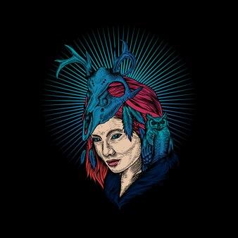 女性の頭蓋骨とフクロウのロゴ