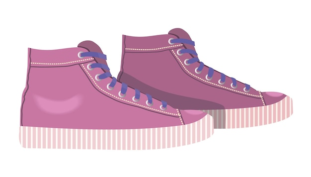 Значок женские кроссовки розовые кроссовки, изолированные на белом фоне спортивная обувь