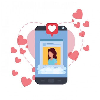Women social network profile with hearts
