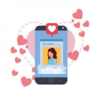 마음으로 여성 소셜 네트워크 프로필