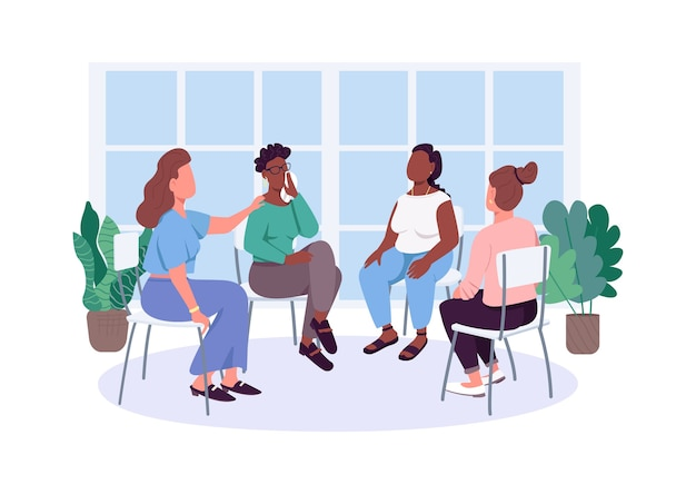 Women social support group flat color faceless characters. female issues therapy meeting. mental health care isolated cartoon illustration