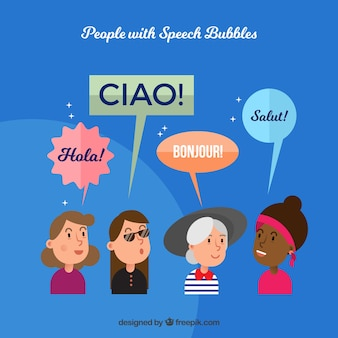 Women speaking different languages with flat design