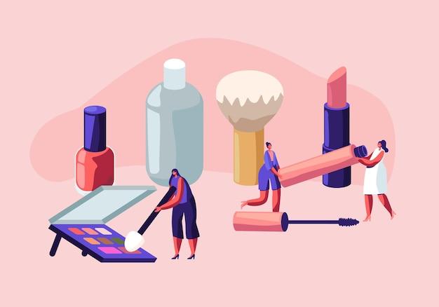 女性は美容師のパーラーで時間を過ごします。ビューティーサロンでスキンケア製品をテストする女性キャラクター。