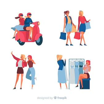 Женщины проводят время вместе с различными видами деятельности