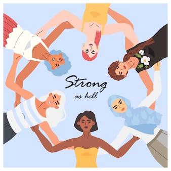 円で立っている女性。国際女性の日カード。