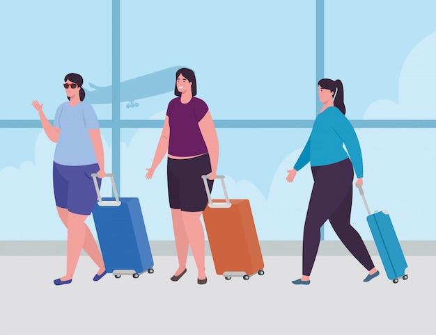 空港ターミナルで荷物を立っている女性、空港ターミナルで手荷物ベクトルイラストデザイン