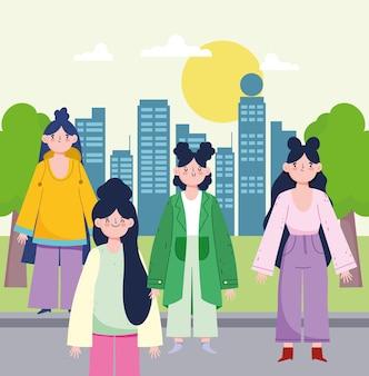 通りに立っている女性