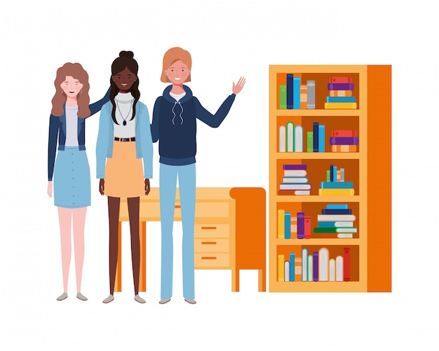 Women standing with bookshelf of wooden and books