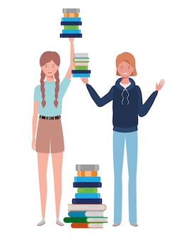 Women standing with stack of books