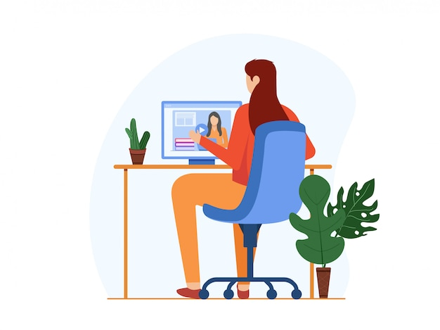 Women stay at home and join her university online class