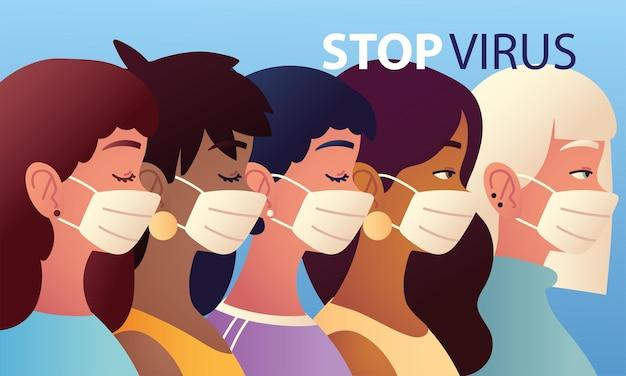 女性はウイルスのイラストをやめ、女性は医療用マスクを着用