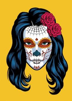 Women on sugar skull make of dia de los muertos