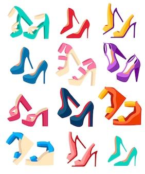 여성 여름 신발 컬렉션. 하이힐 신발 세트. 플랫 패션 디자인 가죽 컬러 모카신. 그림 흰색 배경에 고립입니다.