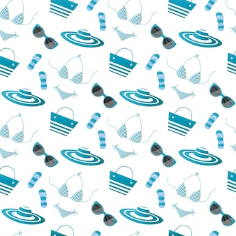 Women summer things and accessories for beach recreation seamless pattern.