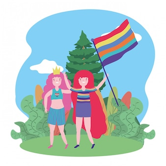 Women supporting lgtbi march