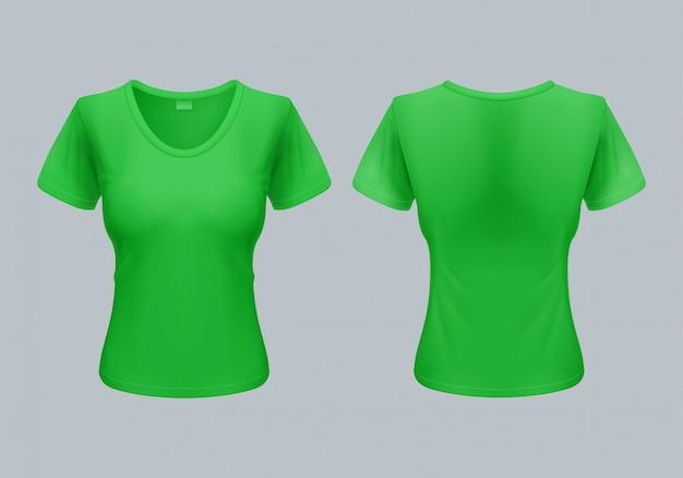 Шаблон женской футболки, вид сзади и спереди, светло-зеленый