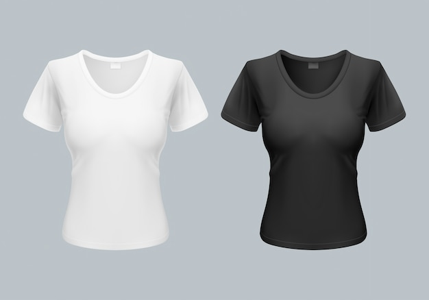 Women t-shirt template back and front views in black and white