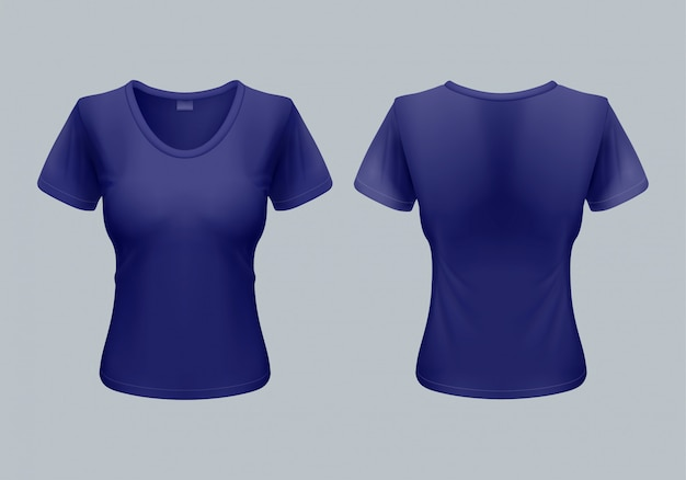 Women t-shirt template back and front views in dark blue