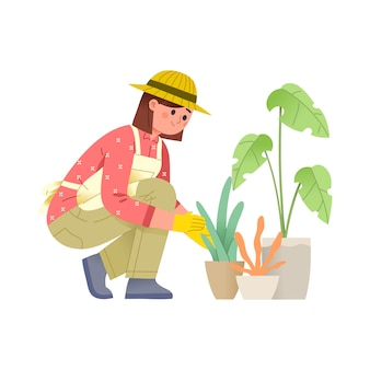 Women take care of plants in pots with gloves