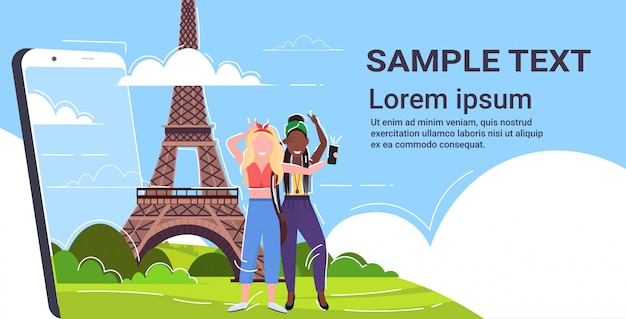 Women taking selfie photo on cellphone camera mix  girls standing together travel concept paris abstract city silhouette background smartphone screen copy space  full length horizontal Premium Vector