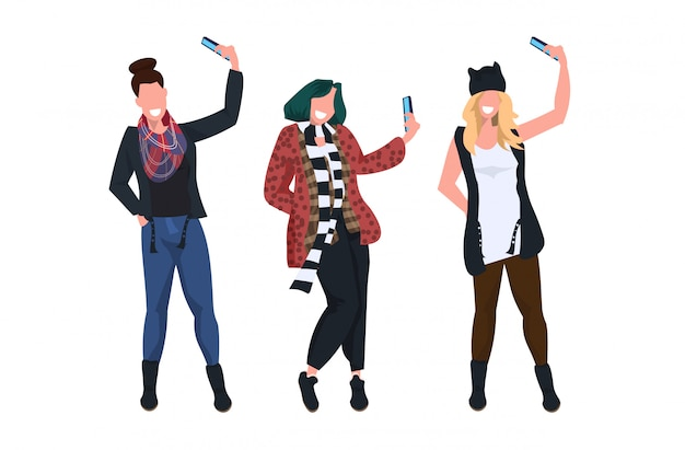 Women taking selfie photo on smartphone camera casual female cartoon characters photographing in different poses white background  full length horizontal