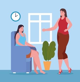 Женщины разговаривают дома дизайн деятельности и досуга