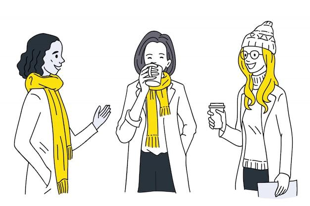 Women talking together in winter
