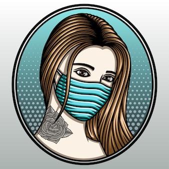 Women tattooed wearing mask.