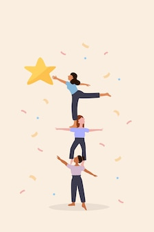 Women teamwork, good collaboration, strong partnership can help create strength to reach goal and target, women colleague do pyramid acrobat to support others to reach star, prize and win competition.