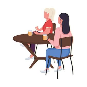 다른 음식을 테스트하는 여성은 평면 색상의 얼굴이 없습니다. 맛있는 식사 만들기. 맛있는 음료. 격리 된 만화 그림 요리