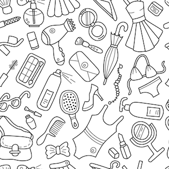 Women things, cosmetics and clothing seamless pattern in doodle style.