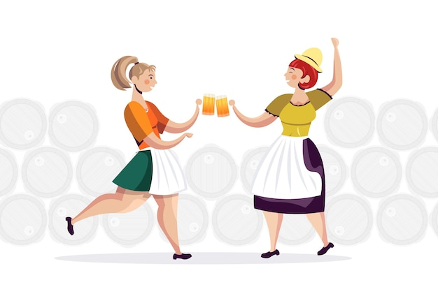Women in traditional clothes drinking beer celebrating oktoberfest party friends having fun full length horizontal vector illustration