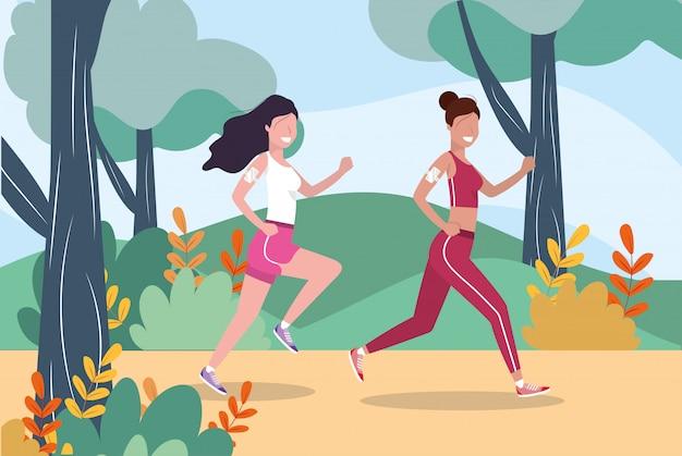 Women training running exercise activity