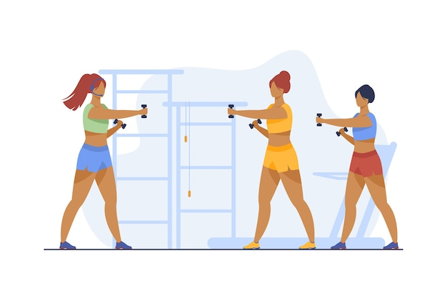 Women training with dumbbells in fitness club. gym, muscle, arm flat vector illustration. sport and healthy lifestyle