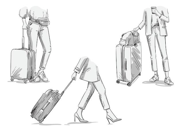 바퀴 달린 여행 가방을 들고 여행하는 여성, 걷기. 벡터 수하물 그림