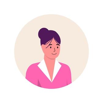 여성 유행 아이콘 아바타 캐릭터입니다. 명랑, 행복한 사람들이 평면 벡터 일러스트 레이 션. 라운드 프레임입니다. 여성 초상화, 그룹, 팀. 흰색 배경에 고립 된 사랑스러운 소녀