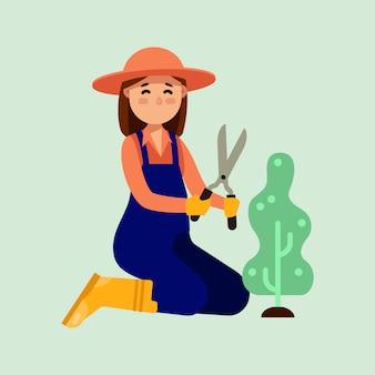 Women use gardening tool trimming bush modern  illustration